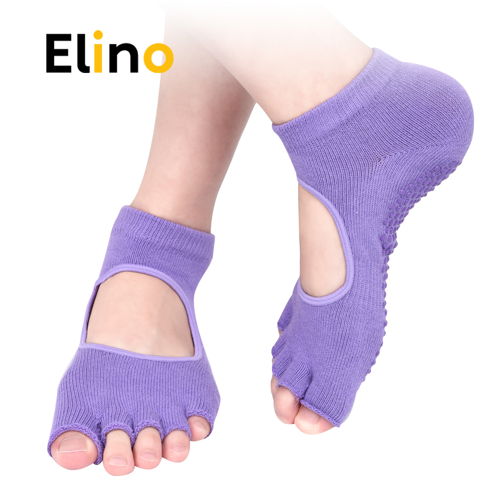 Elino 5 Colors Professional Yoga Socks Insoles Ballet Non-slip Five Finger Toe Sport Pilates Massaging Socks Insole For Women non slip toeless yoga socks with grip for women