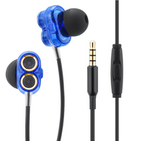 Hi Fi Double Dynamic In Ear Earphones For Computer Mobile Phone Stereo Wired Control Noise Canceling