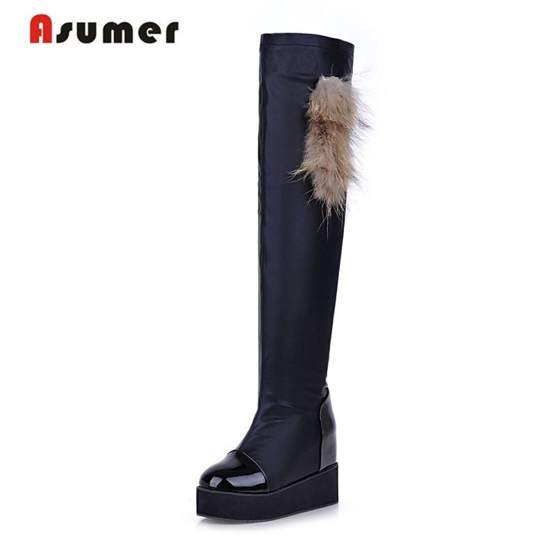 Aaumer Large size 32-43 arrival over the knee high boots round toe platform solid black winter boots simple  women shoes fashion women half knee high boots solid buckle metal round toe platform wedge shoes 3 colors large size 34 43
