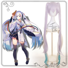 Hatsune Miku Snow Long Wig Ponytails Purple Gradient color Cosplay Wig + Wig Cap цена