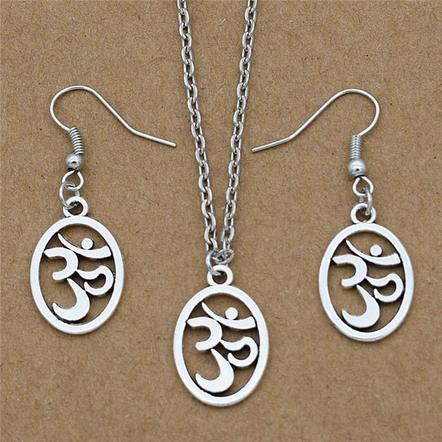 Buddhist Vintage Oval Shaped Antique Silver Ohm Aum Om Sign Symbol