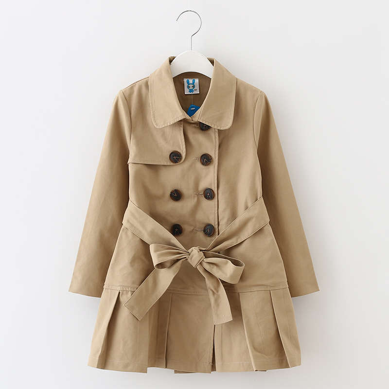 Girls Windbreaker Autumn\winter Kids Cotton Coat Children Khaki Double Breasted Long Clothing England Style for 4y-12y girls windbreaker autumn winter kids cotton coat children khaki double breasted long clothing england style for 4y 12y