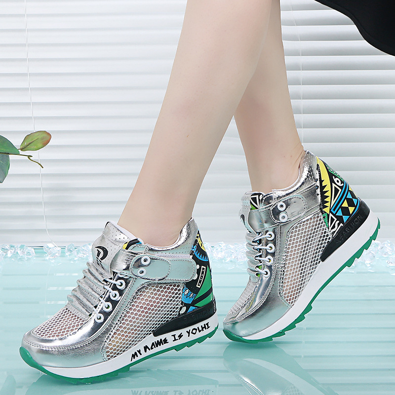 2019 spring and summer new women's shoes increased net shoes wild breathable mesh surface hollow leisure sports wedge 14