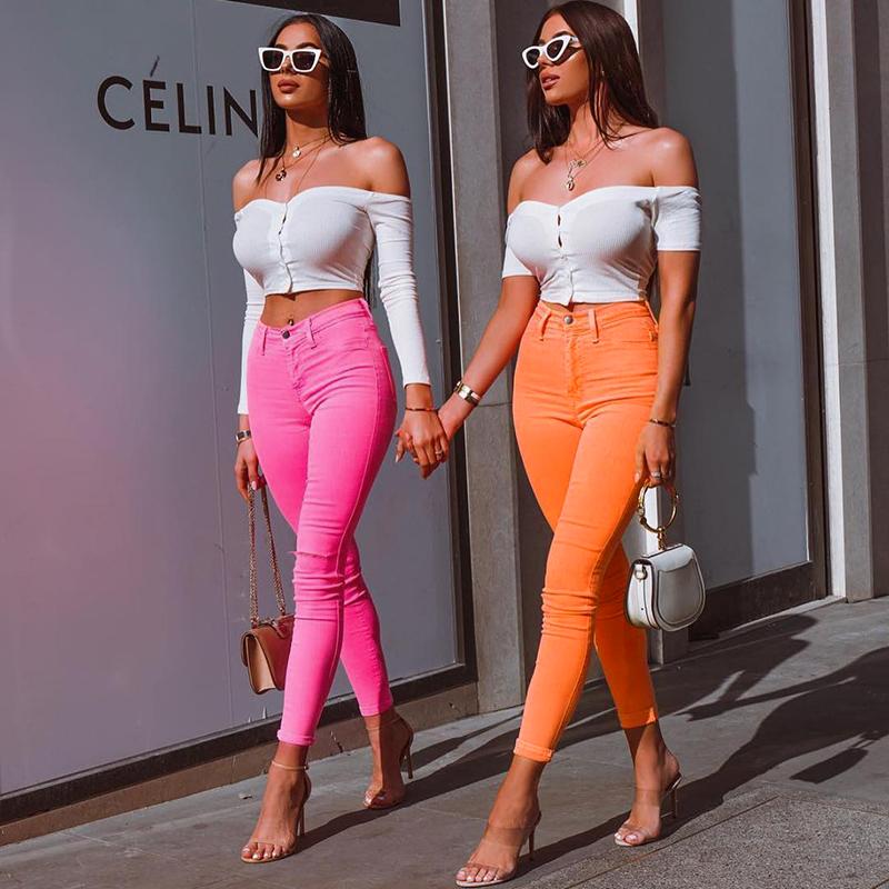 Image 4 - Shiny Neon Pink Green Pencil Pants High Street Women Trousers Skinny High Waist Orange Pants Ladies Long Trousers Skinny Sexy-in Pants & Capris from Women's Clothing