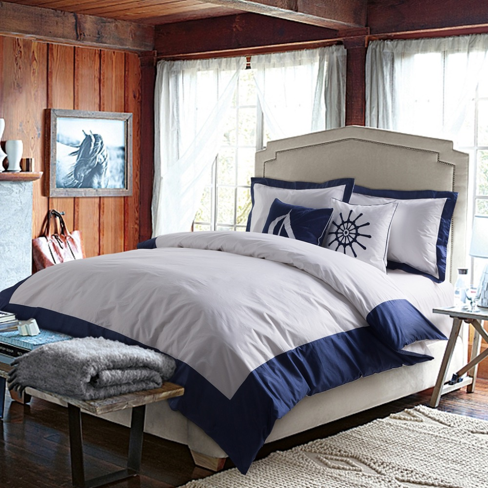 ... Hotels 100% Egyptian Cotton Satin Bed Linen Patchwork White And Blue  Duvet Cover Set 4pcs Luxury King Bedding Sets In Bedding Sets From Home U0026  Garden On ...