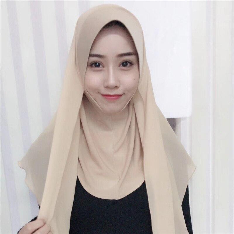 2019 Trendy Muslim Chiffon Jersey Instand Hijab Scarf Islamic Full Cover Cap Headscarf Ready To Wear Hijab Femme Musulman
