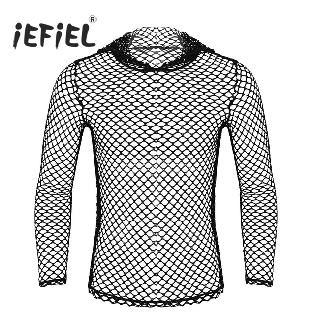 1ffb16aba Mens Summer Long Sleeve Hoodie Fishnet Mesh See Through Casual Club Wear  Muscle T-shirt Tops for Evening Party T Shirt Men