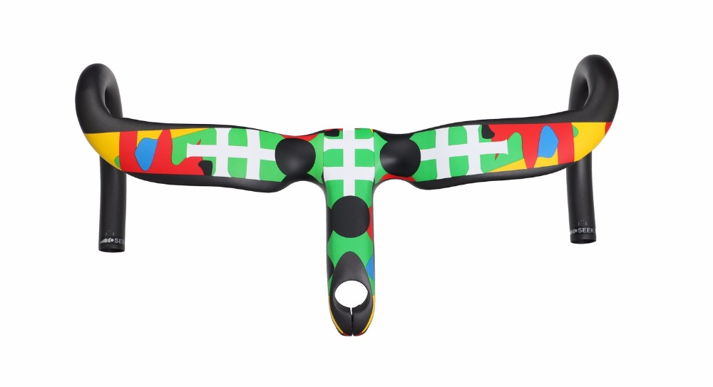 NEW TOSEEK Camouflage Full Carbon Fiber Integrated Road Bicycle Handlebar Bike Handlebar 400/420/440mm Red road handlebar 2017 new style toseek full carbon fiber road bike handlebar bicycle handlebar 31 8 400 420 440mm multicolored color matt