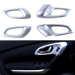 Interior ABS Chrome Inner Door Handle Bowl Molding Cover For Renault Kadjar 2015 2016 2017 Left-hand Drive Only