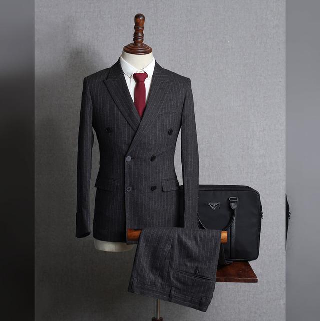 Nova Moda 2 Peças Listradas Dos Homens Ternos Do Noivo Smoking Breasted Dobro (Jacket + Pants) Custom Made Melhor Negócio homem Ternos