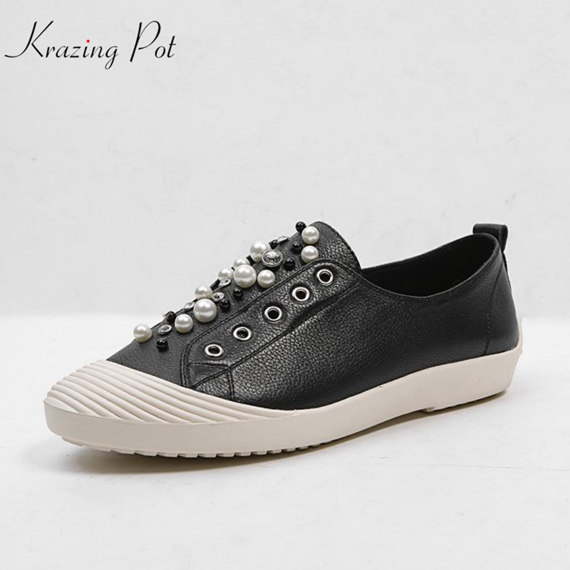 Krazing pot cow leather shallow beauty lady casual round toe pregnant shoes colors crystal pearl slip on hollow women flats L22 women loafers casual shoes female round toe slip on wide shallow flats lady shoes oxford spring summer shoes for women or910314