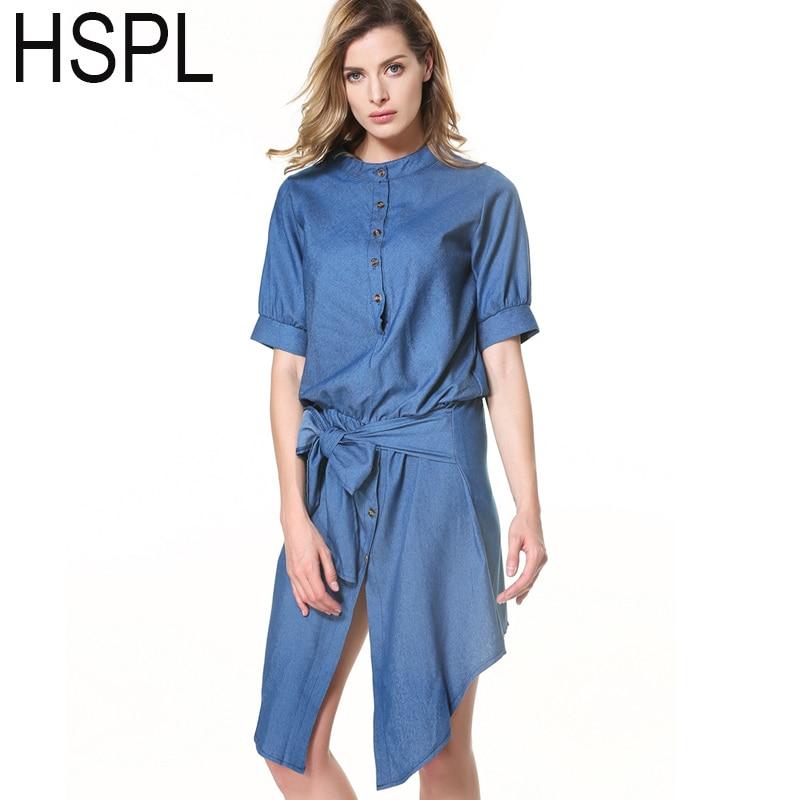 HSPL Denim Summer Dress 2016 Lady Solid Color Knee-Length Women Short Dress Casual New Style  Dresses vestido largo
