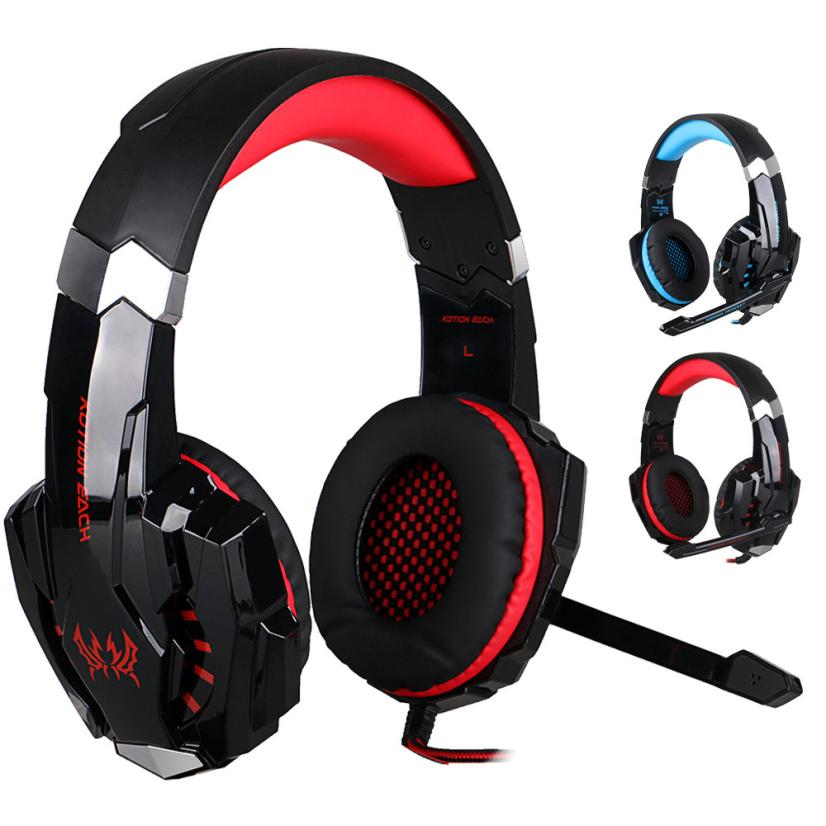 HL  EACH  G9000 Stereo Gaming Headphone Computer Game Headset with Mic Red LED Light AUG 23  E22 rock y10 stereo headphone earphone microphone stereo bass wired headset for music computer game with mic