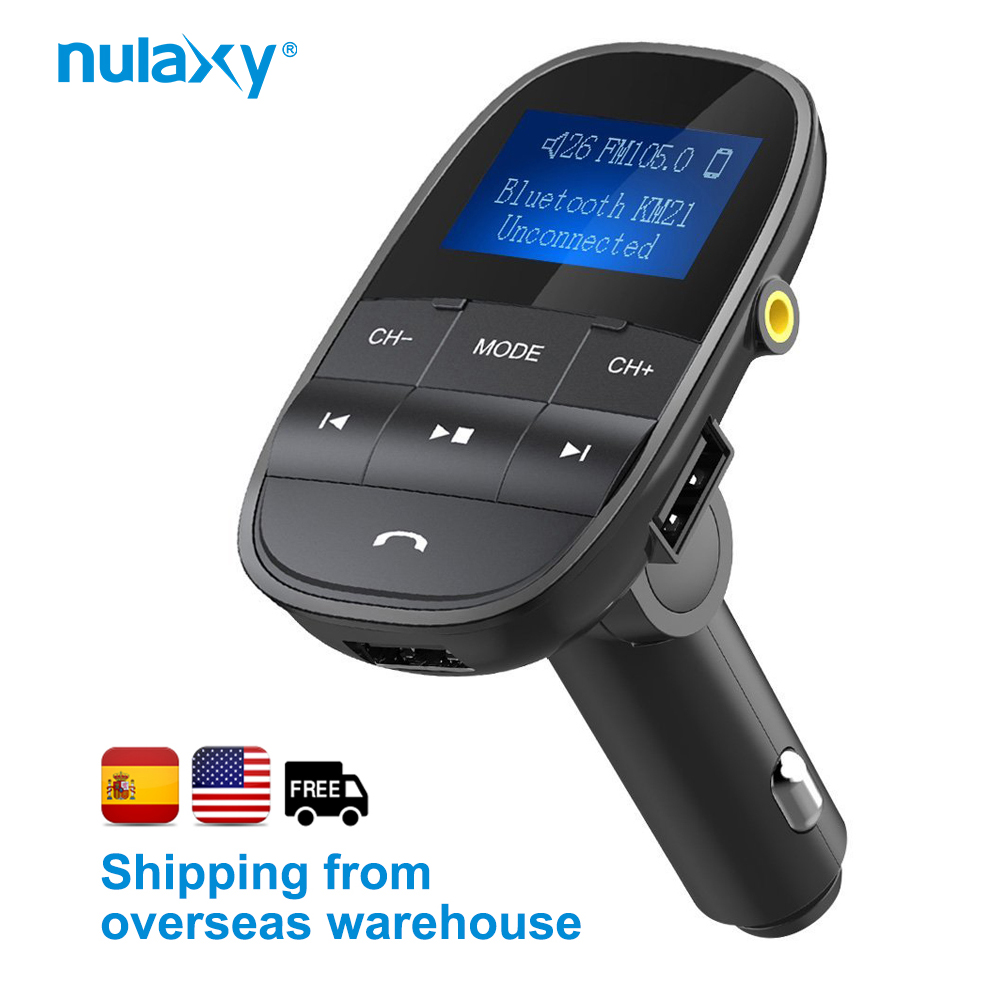 Nulaxy KM21 Car MP3 Player Support TF USB Disk Bluetooth Hands-free FM Modulator LCD Displayer Audio FM Transmitter Car Charger bluetooth mp3 player fm transmitter modulator car charger with dual usb 3 1a earphone hands free call aux tf led display