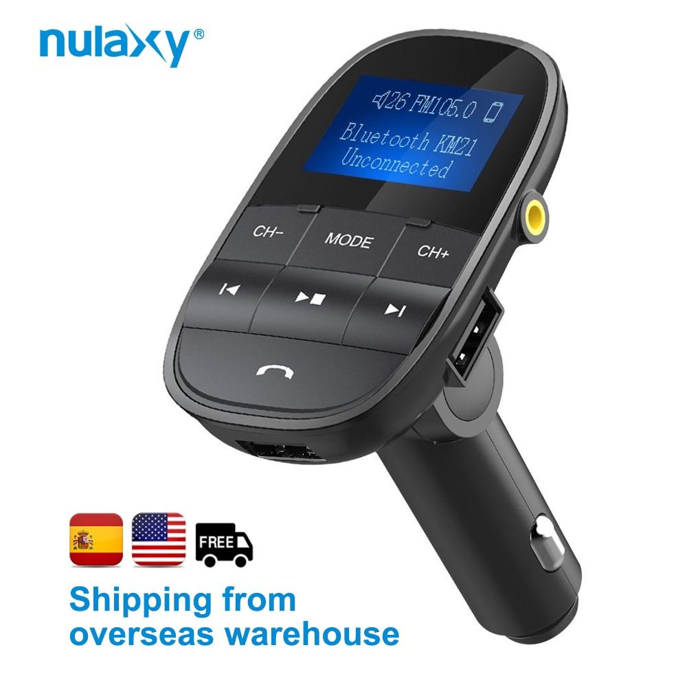 Nulaxy KM21 coche MP3 reproductor de apoyo TF disco USB Bluetooth manos libres FM modulador LCD Displayer Audio transmisor FM cargador de coche