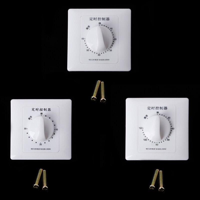 1 Interruptor de temporizador ca de 220 V, Interruptor de temporizador, bomba de Control, temporizador, Control de Cuenta regresiva mecánico, Interruptor de 30/60/120 minutos