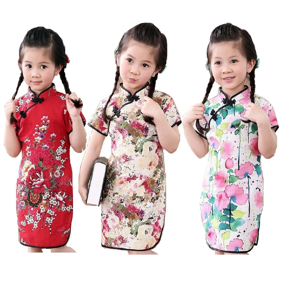 Rose Floral Baby Girls Qipao Dress Chinese Traditional Chi-pao Fashion New Year Children Dresses Kids Cheongsam Linen Clothes 2