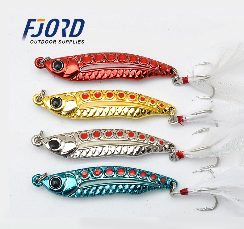 FJORD Metallo VIB 4 colori 55/62 / 68mm 5/7/10/15 / 20g Spinner Spoon Long Casting Esche rigide Esche da pesca