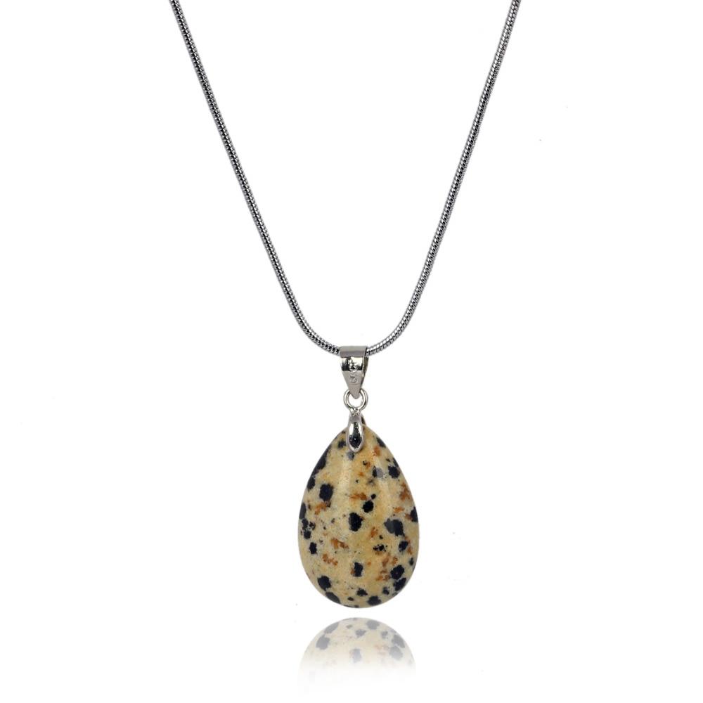 Opalite Labradorite Black Obsidian Water Drop Necklace