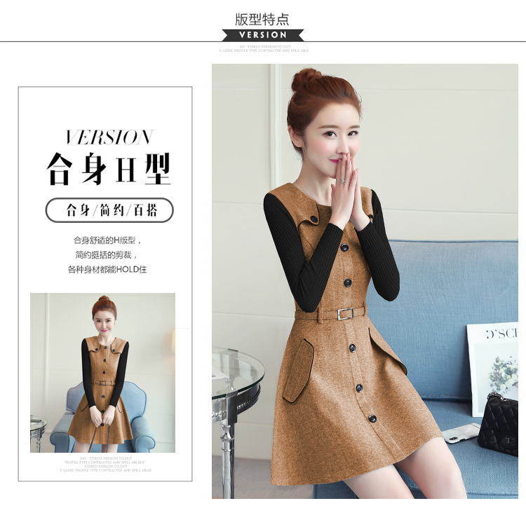 winter new round collar single-breasted cloth dress belt buttons A word women dresses Korean fashion outfit lady vogue vestido 8