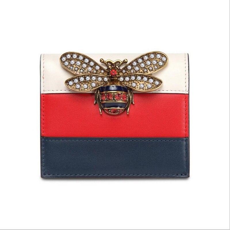 f43be30d4 Cartera de cuero genuino de diseñador para mujer, Cartera de abeja de  marcas famosas, cartera larga de cuero de lujo para mujer, bolso tricolor