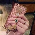 "Caso strass para apple iphone 6 6 das mulheres s plus caso 4.7 ""/5.5"" chapeamento de ouro pulseiras de pedras preciosas de luxo + rhombic tpu tampa do telefone"