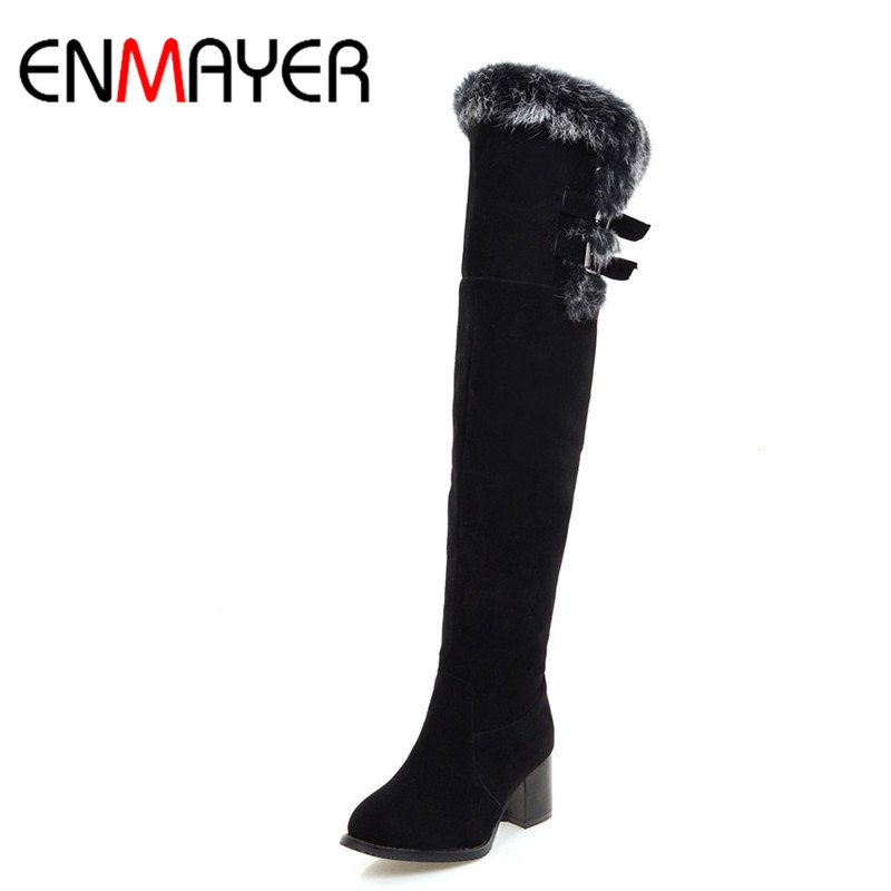ENMAYER Classic Black Shoes Woman Buckle Charms High Heels Winter Over-the-knee Boots for Women Zippers Round Toe Platfrm Shoes enmayer sexy red shoes woman high heels bowties charms size 34 47 zippers round toe winter over the knee boots platform shoes page 4