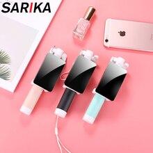 Sarika Espelho Monopé Selfie Vara Para iPhone 5 5S 6 6 s Plus Para Samsung Huawei Mobile Phone Mini Portátil titular Selfie Vara