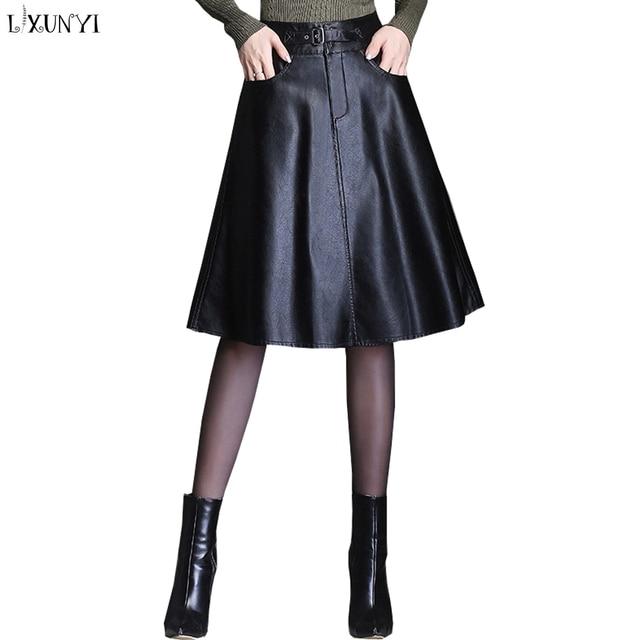 fa4743f20e2 LXUNYI Ladies Black Leather Skirt Women Autumn Winter A line Pu Skirt Plus  Size High Waist Casual Knee Length Skirts falda