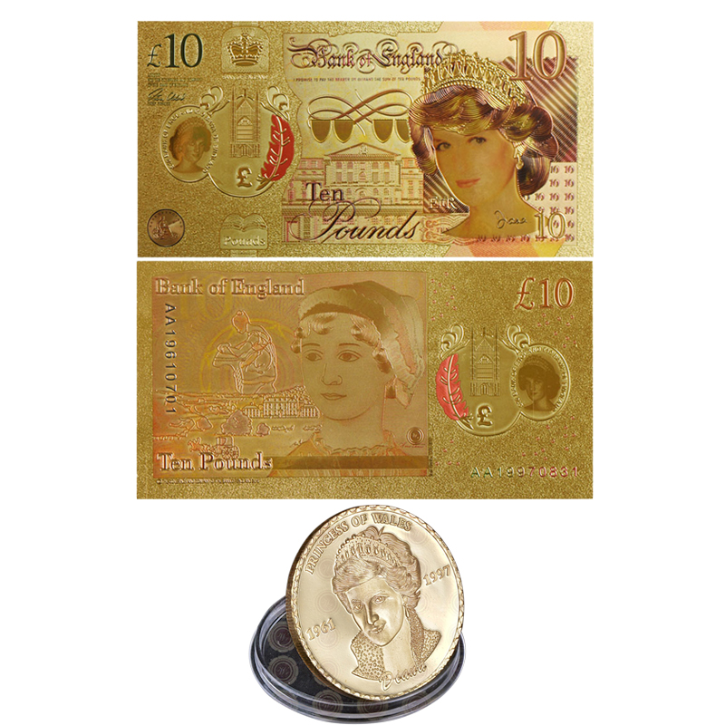 Us 4 72 41 Off Wr Coin And Banknote Set Diana Princess Gold Plated Metal Colored Golden 10 Pounds Fake Bills For Collection In
