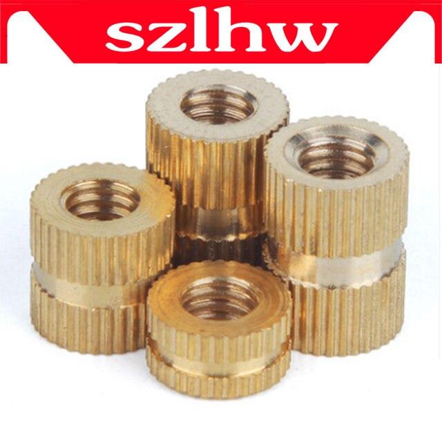 Высокое качество 100 шт./лот латунные втулки M2 M2.5 M3 через резьбы гайка с кольцевой вставкой из латуни/рифленые гайки для литья под давлением