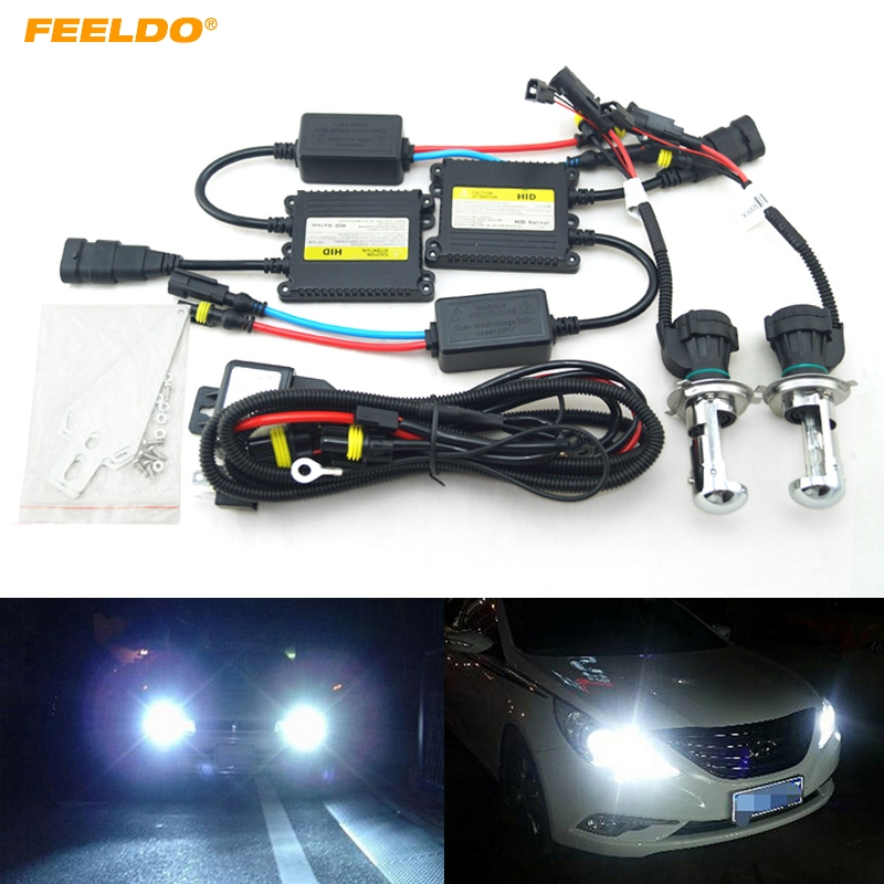 FEELDO 5Sets 35W AC Car Headlight H4 HID Xenon Bulb Hi/Lo Beam Bi-Xenon Bulb Light Digital Slim Ballast HID Kit #FD-4482 хай хэт и контроллер для электронной ударной установки roland fd 9 hi hat controller pedal