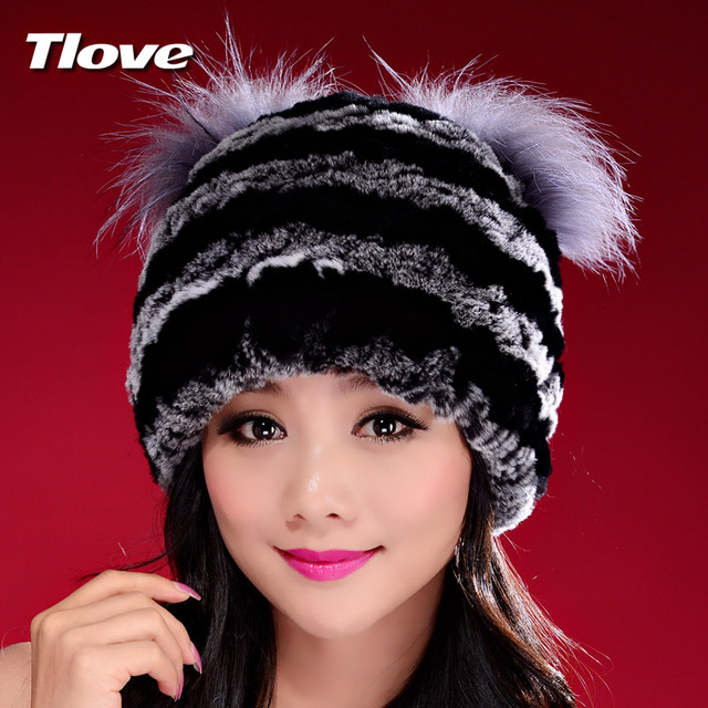 Handmade Autumn Winter Women's Genuine Nature Real Rex Rabbit Fur Hats Lady Knitted Caps Female Beanies