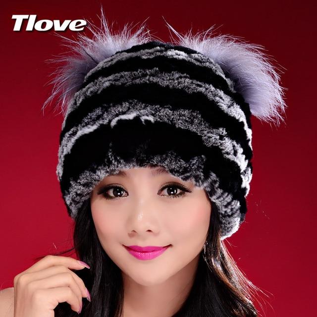 Handmade Autumn Winter Women's Genuine Nature Real Rex Rabbit Fur Hats Lady Knitted Caps Female Beanies