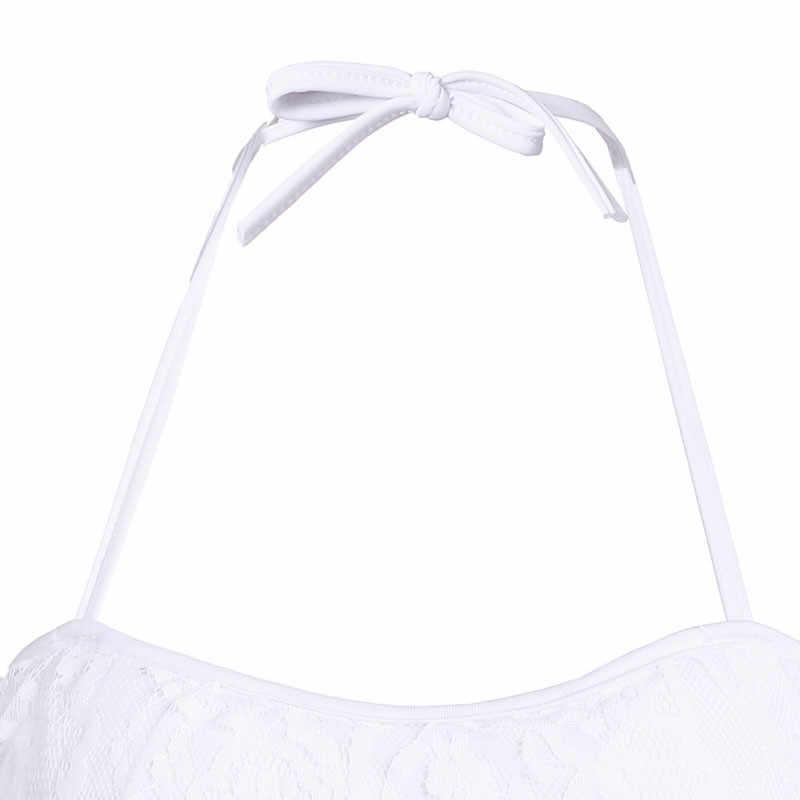 Wanita Seksi Dua Potong Bikini Set Pita Pengikat Rambut Putih Renda Crochet Bikini Set Empuk Push Up Bra Pakaian Renang Baju Renang Mandi sesuai dengan Biquini