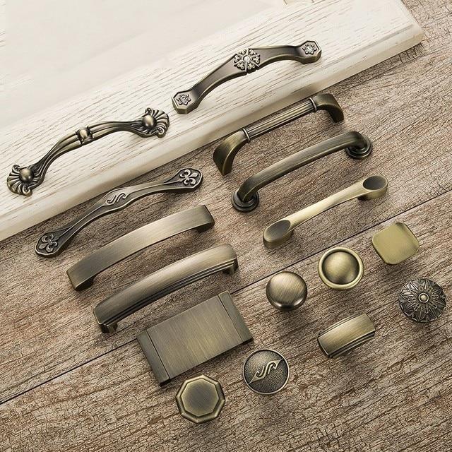 5pcs Antique Door Handles Metal Drawer Knobs Pulls Vintage Bronze ...