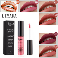 LIYADA 12PCS / set водонепроницаемый матовый блеск долговечный жидкий помада косметический блеск для губ кили легко носить корейский стиль макияж