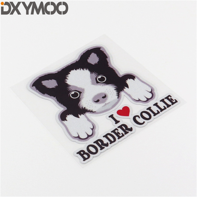 Etiqueta de diseño de coche Animal mascota perro I LOVE Border Collie brillante motocicleta aceite tanque bicicleta portátil pegatinas 10 cm