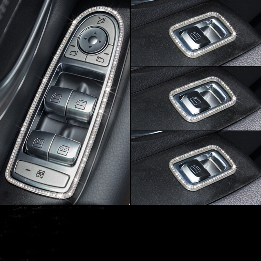 4pcs Silver/Gold Door Window Button Frame Trim for Mercedes Benz GLC C Class W205 2015 2016 2017 Car Accessories chrome door audio speaker cover frame trim for mercedes benz c class w205 c180 c200 c300 2015 2016 car styling accessories