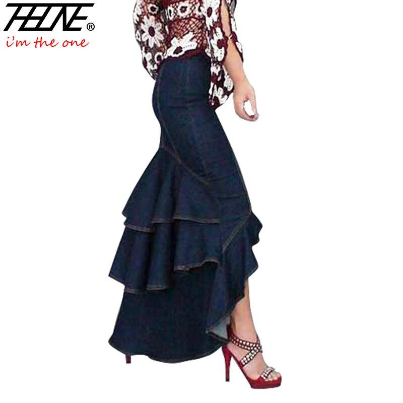 Thhone Calidad Dark Piso Especial Maxi De Cola Pez Faldas Blue Largas Moda Mezclilla Volantes Mujeres Jeans Alta Sirena zaxqzwrO1
