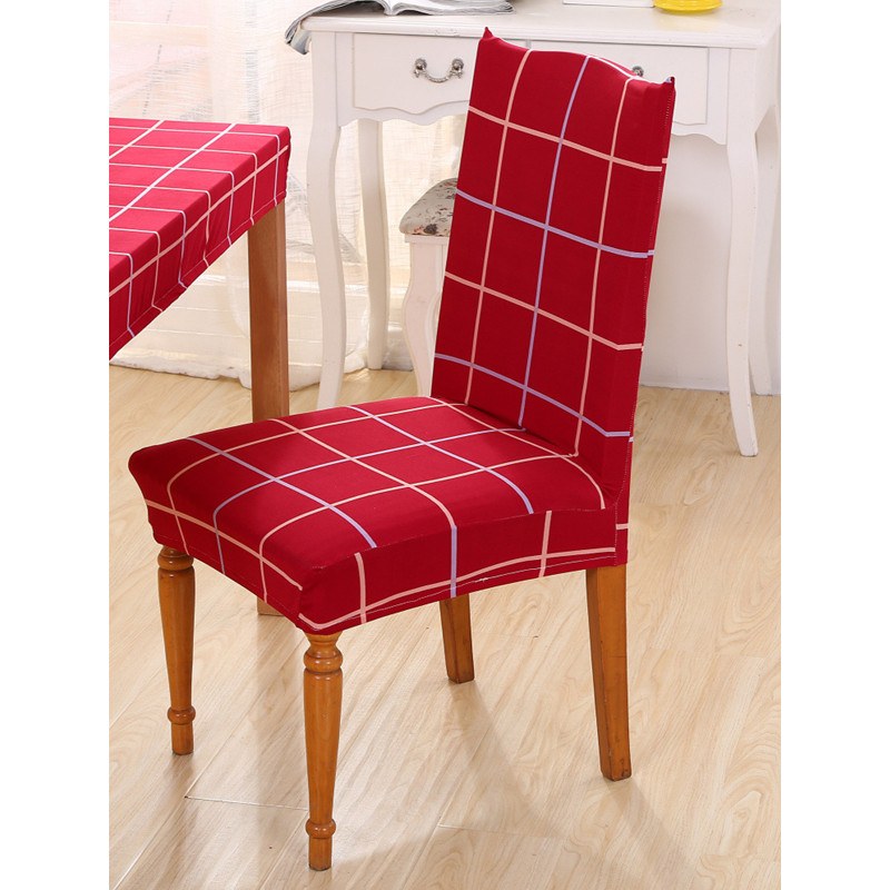 Polyester Spandex Chair Covers Printed Elastic Dining For Wedding Party Red Seat