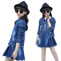 Spring Autumn Kids Girl Clothing Sets Teenage Girls Denim Jacket+Jeans Skirts 2Pcs Suit School Childrens Baby Cowboy Clothes A13