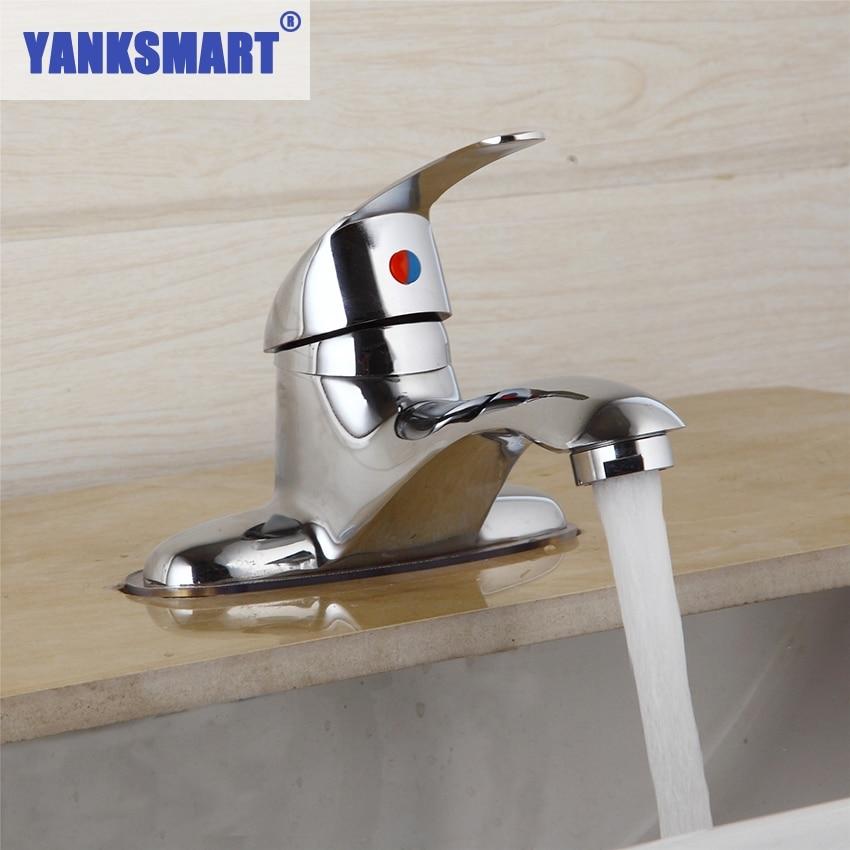 YANKSMART US Deck Mount Chrome Bathroom Faucet Vanity Vessel Double Hole Sinks Mixer Tap Cold And Hot Water Tap Faucet