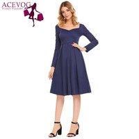 ACEVOG Women Retro Pleated Swing Dress Women Sweetheart Neck Long Sleeve Bow Party Vintage Dresses Classic Black Dress Vestidos