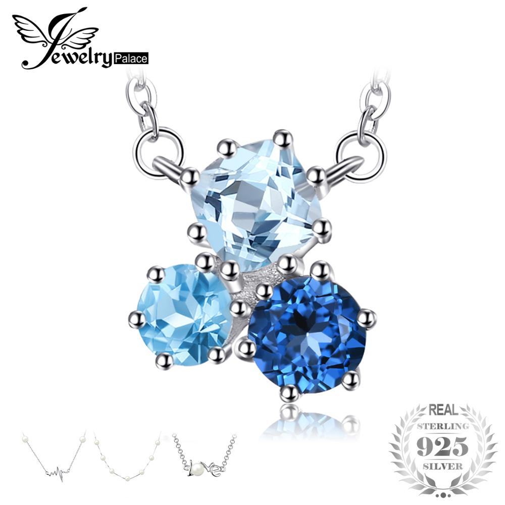 JewelryPalace 1.7ct Genuine Multi London Blue Topaz Pendant Necklace 925 Sterling Silver 18 Inches Fashion Jewelry For WomenJewelryPalace 1.7ct Genuine Multi London Blue Topaz Pendant Necklace 925 Sterling Silver 18 Inches Fashion Jewelry For Women