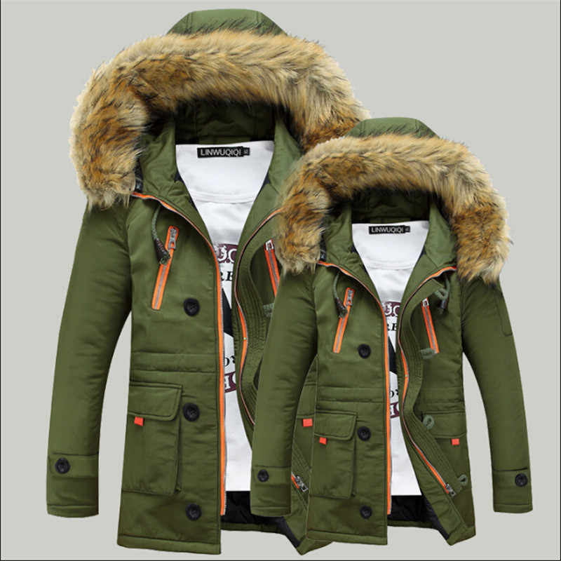 Men Winter Jackets 2017 Thicken Parka Plus Size Fur Hooded Winter Coats Loose Solid Color Winter Jackets Men A2697