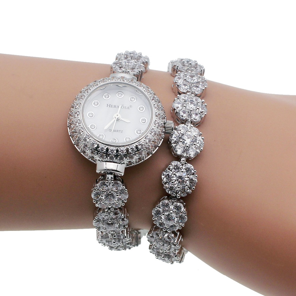 HERMOSA Upscale Fashion womens' watches 925 sterling silver charm bracelets Watchs QA79 недорго, оригинальная цена