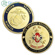 New Arrival 1/3/5/10pcs/lot 8TH Marine Regiment Challenge Coin Army USMC United States Gold Corps Souvenir Coins