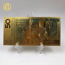 Venda quente 1pc boa qualidade polónia notas coloridas 50 bill pln notas de ouro em 24k banhado a ouro dinheiro réplica para coleção