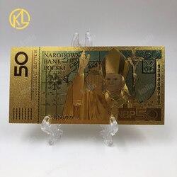 Горячая Распродажа 1 шт. качественные польские банкноты Красочные 50 купюр золотые банкноты в 24k позолоченные копия денег для коллекции
